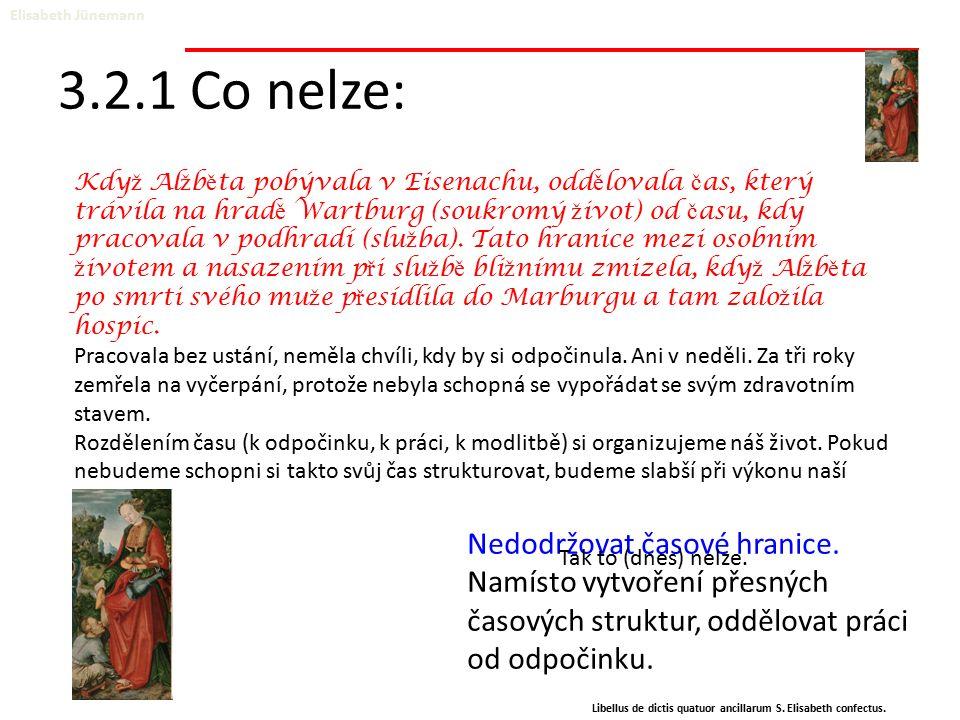 3.2.1 Co nelze: Elisabeth Jünemann Libellus de dictis quatuor ancillarum S. Elisabeth confectus. Nedodržovat časové hranice. Namísto vytvoření přesnýc