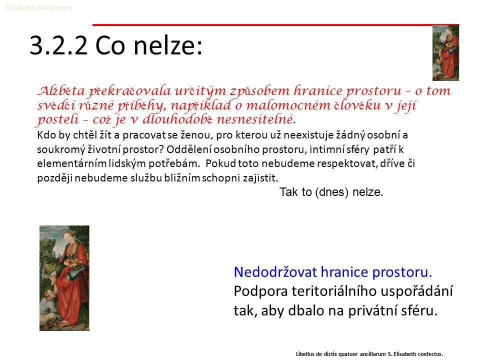 3.2.2 Co nelze: Elisabeth Jünemann Libellus de dictis quatuor ancillarum S. Elisabeth confectus. Nedodržovat hranice prostoru. Podpora teritoriálního