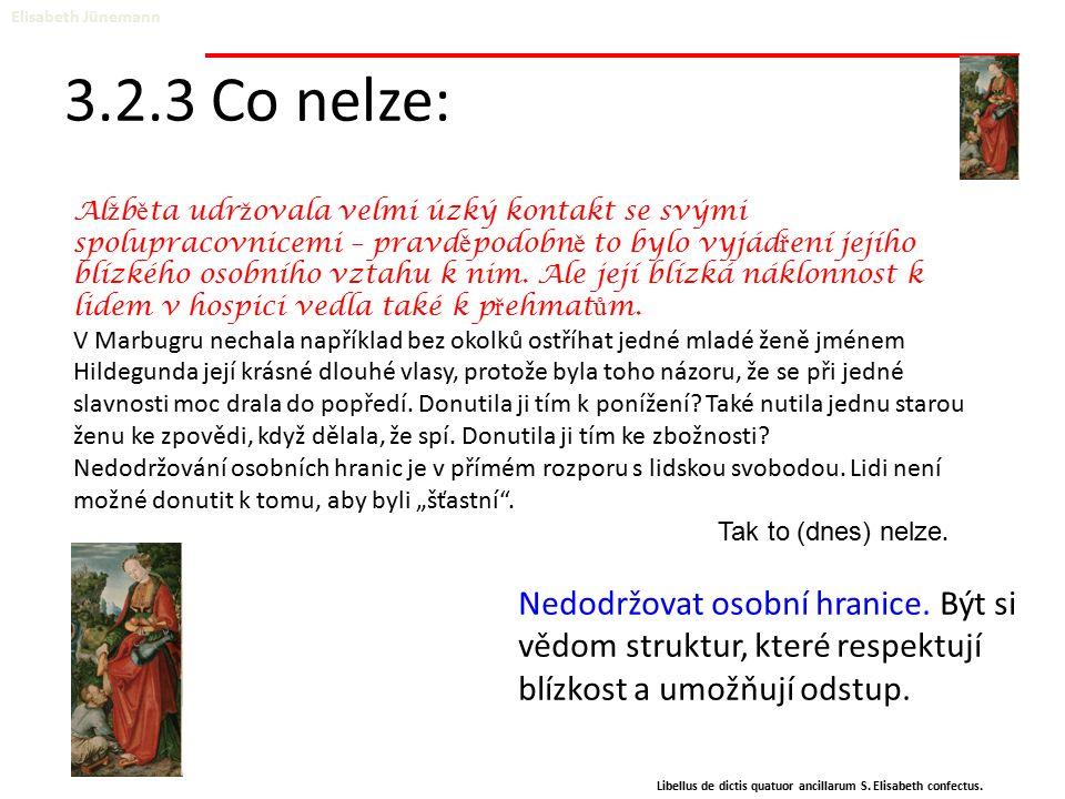 3.2.3 Co nelze: Elisabeth Jünemann Libellus de dictis quatuor ancillarum S. Elisabeth confectus. Nedodržovat osobní hranice. Být si vědom struktur, kt