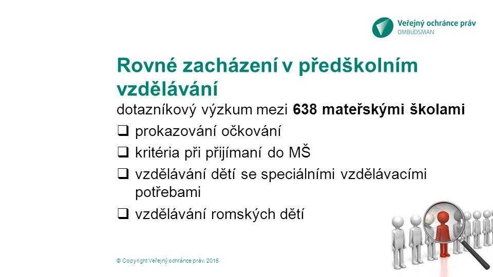 Rovné zacházení v předškolním vzdělávání dotazníkový výzkum mezi 638 mateřskými školami  prokazování očkování  kritéria při přijímaní do MŠ  vzdělávání dětí se speciálními vzdělávacími potřebami  vzdělávání romských dětí © Copyright Veřejný ochránce práv, 2015