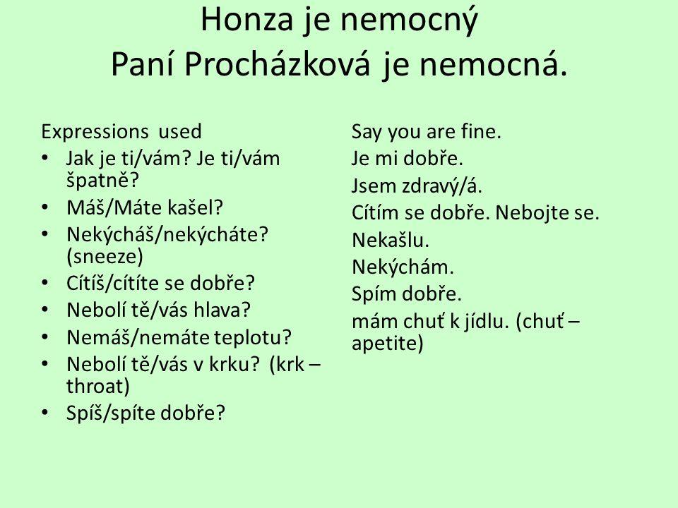 Honza je nemocný Paní Procházková je nemocná. Expressions used Jak je ti/vám? Je ti/vám špatně? Máš/Máte kašel? Nekýcháš/nekýcháte? (sneeze) Cítíš/cít