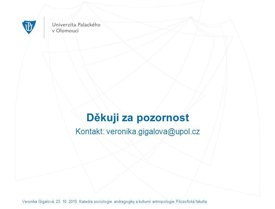 Děkuji za pozornost Kontakt: veronika.gigalova@upol.cz Veronika Gigalová, 23.