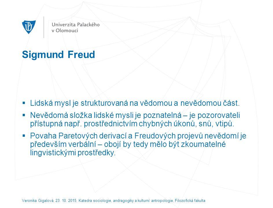 Sigmund Freud  Lidská mysl je strukturovaná na vědomou a nevědomou část.