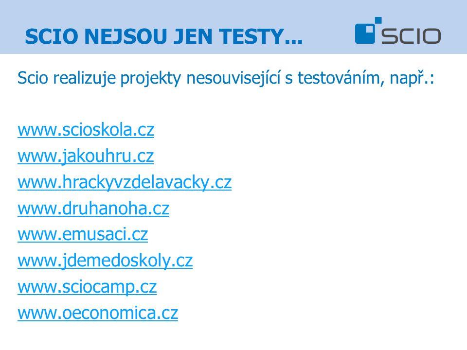 Scio realizuje projekty nesouvisející s testováním, např.: www.scioskola.cz www.jakouhru.cz www.hrackyvzdelavacky.cz www.druhanoha.cz www.emusaci.cz www.jdemedoskoly.cz www.sciocamp.cz www.oeconomica.cz SCIO NEJSOU JEN TESTY...