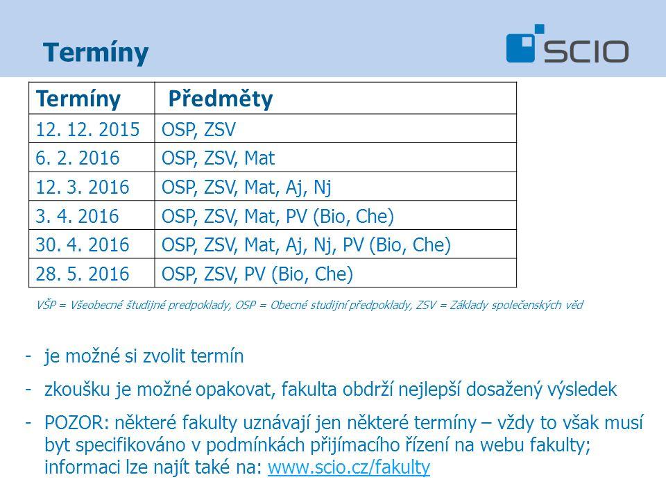 Termíny VŠP = Všeobecné študijné predpoklady, OSP = Obecné studijní předpoklady, ZSV = Základy společenských věd -je možné si zvolit termín -zkoušku j