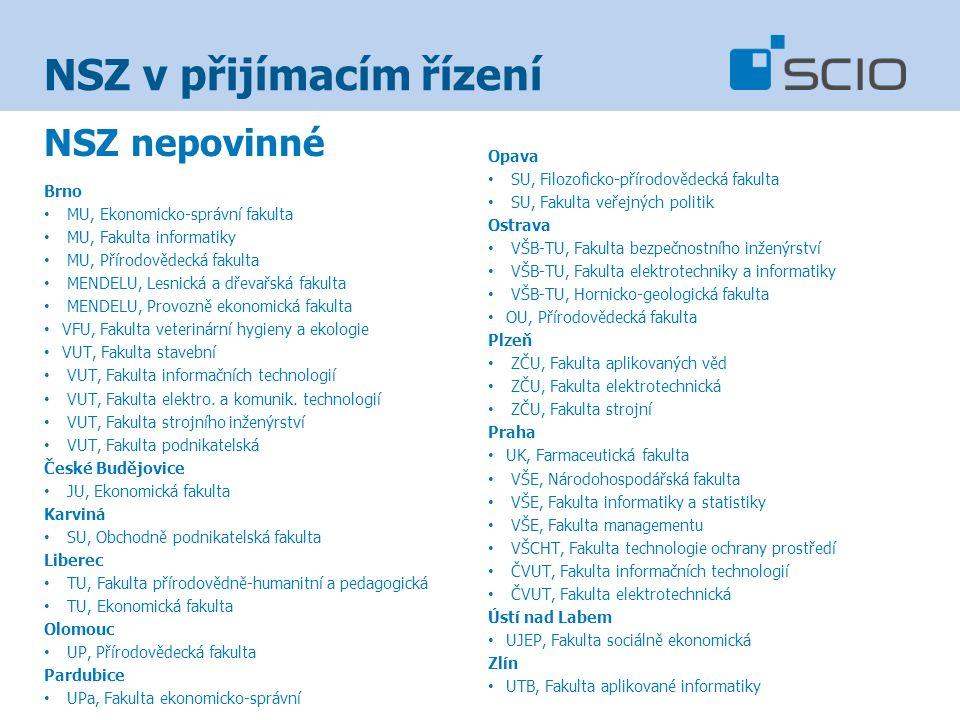 NSZ v přijímacím řízení NSZ nepovinné Brno MU, Ekonomicko-správní fakulta MU, Fakulta informatiky MU, Přírodovědecká fakulta MENDELU, Lesnická a dřevařská fakulta MENDELU, Provozně ekonomická fakulta VFU, Fakulta veterinární hygieny a ekologie VUT, Fakulta stavební VUT, Fakulta informačních technologií VUT, Fakulta elektro.