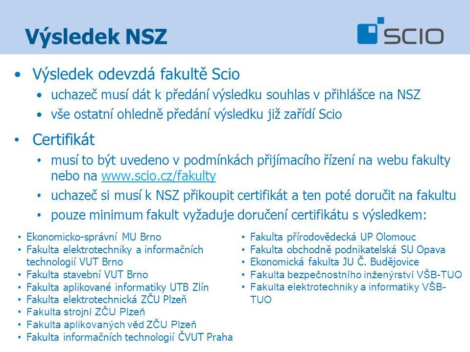 Výsledek NSZ Výsledek odevzdá fakultě Scio uchazeč musí dát k předání výsledku souhlas v přihlášce na NSZ vše ostatní ohledně předání výsledku již zařídí Scio Certifikát musí to být uvedeno v podmínkách přijímacího řízení na webu fakulty nebo na www.scio.cz/fakultywww.scio.cz/fakulty uchazeč si musí k NSZ přikoupit certifikát a ten poté doručit na fakultu pouze minimum fakult vyžaduje doručení certifikátu s výsledkem: Ekonomicko-správní MU Brno Fakulta elektrotechniky a informačních technologií VUT Brno Fakulta stavební VUT Brno Fakulta aplikované informatiky UTB Zlín Fakulta elektrotechnická ZČU Plzeň Fakulta strojní ZČU Plzeň Fakulta aplikovaných věd ZČU Plzeň Fakulta informačních technologií ČVUT Praha Fakulta přírodovědecká UP Olomouc Fakulta obchodně podnikatelská SU Opava Ekonomická fakulta JU Č.