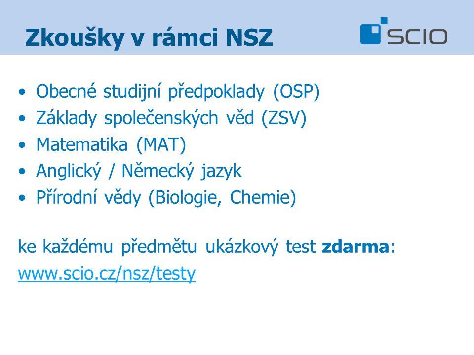 Zkoušky v rámci NSZ Obecné studijní předpoklady (OSP) Základy společenských věd (ZSV) Matematika (MAT) Anglický / Německý jazyk Přírodní vědy (Biologie, Chemie) ke každému předmětu ukázkový test zdarma: www.scio.cz/nsz/testy