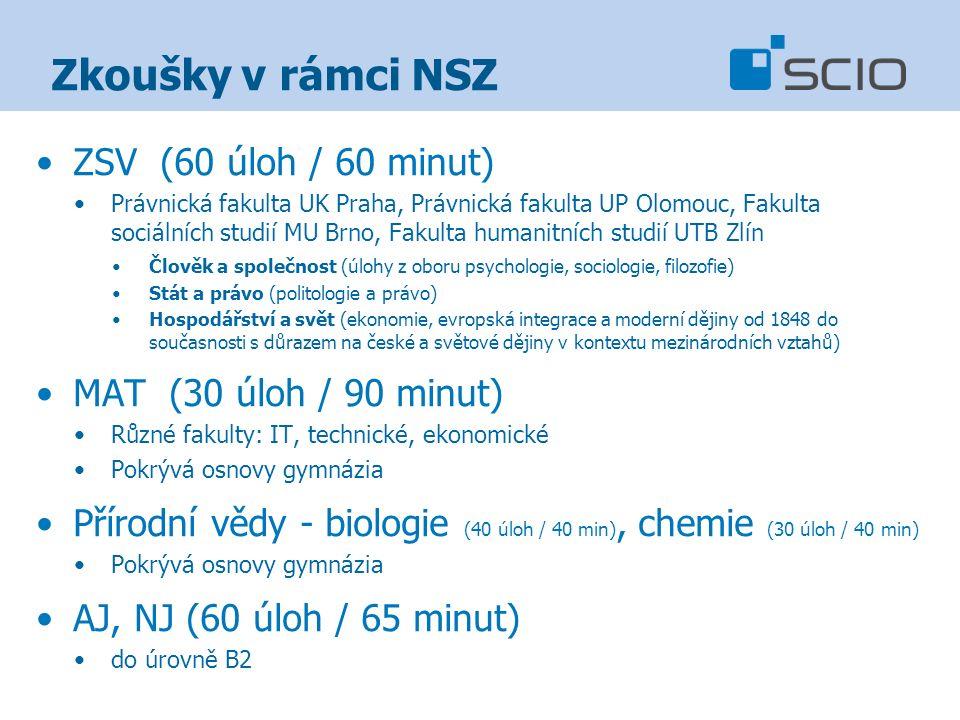 Zkoušky v rámci NSZ ZSV (60 úloh / 60 minut) Právnická fakulta UK Praha, Právnická fakulta UP Olomouc, Fakulta sociálních studií MU Brno, Fakulta huma