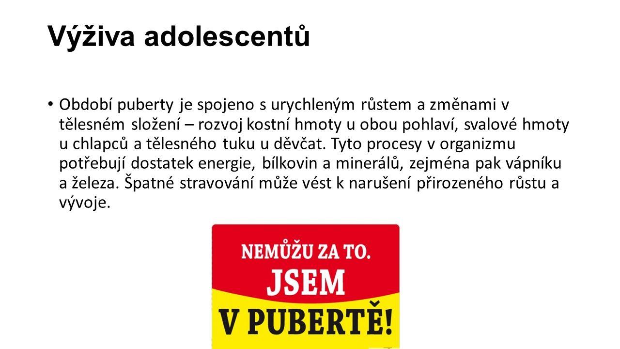 Výživa adolescentů Období puberty je spojeno s urychleným růstem a změnami v tělesném složení – rozvoj kostní hmoty u obou pohlaví, svalové hmoty u ch