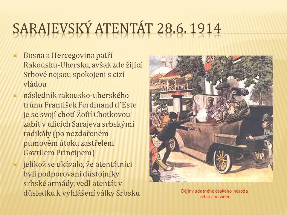  Bosna a Hercegovina patří Rakousku-Uhersku, avšak zde žijící Srbové nejsou spokojeni s cizí vládou  následník rakousko-uherského trůnu František Ferdinand d´Este je se svojí chotí Žofií Chotkovou zabit v ulicích Sarajeva srbskými radikály (po nezdařeném pumovém útoku zastřeleni Gavrilem Principem)  jelikož se ukázalo, že atentátníci byli podporováni důstojníky srbské armády, vedl atentát v důsledku k vyhlášení války Srbsku Dějiny udatného českého národa odkaz na video