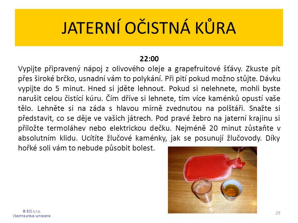 JATERNÍ OČISTNÁ KŮRA 22:00 Vypijte připravený nápoj z olivového oleje a grapefruitové šťávy.