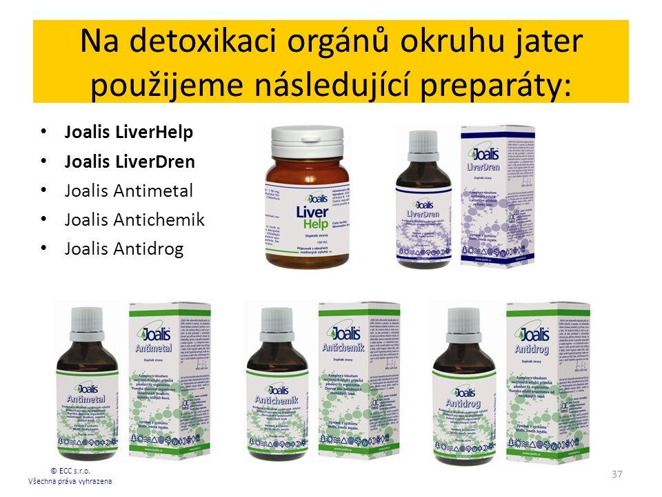 Na detoxikaci orgánů okruhu jater použijeme následující preparáty: Joalis LiverHelp Joalis LiverDren Joalis Antimetal Joalis Antichemik Joalis Antidrog © ECC s.r.o.