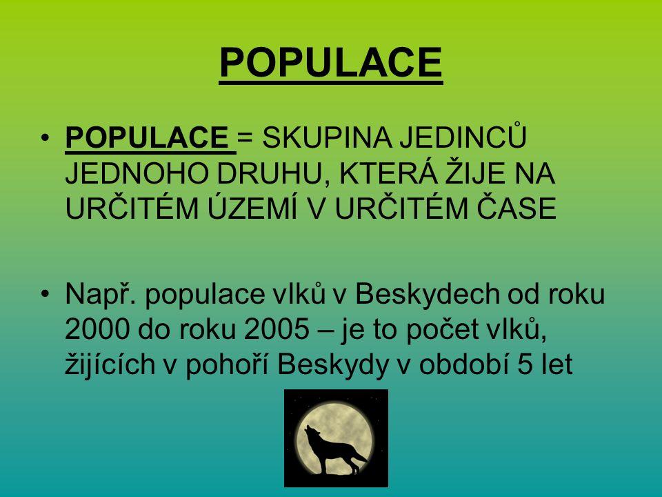 POPULACE POPULACE = SKUPINA JEDINCŮ JEDNOHO DRUHU, KTERÁ ŽIJE NA URČITÉM ÚZEMÍ V URČITÉM ČASE Např.