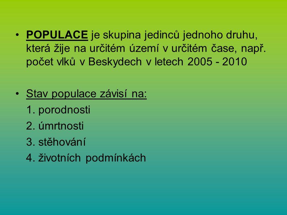 POPULACE je skupina jedinců jednoho druhu, která žije na určitém území v určitém čase, např.