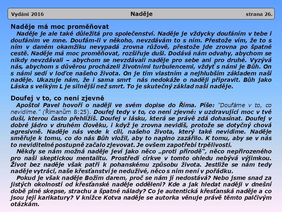 Vydání 2016 Naděje strana 26.