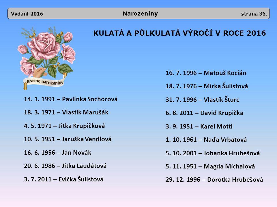 KULATÁ A PŮLKULATÁ VÝROČÍ V ROCE 2016 14. 1. 1991 – Pavlínka Sochorová 18.