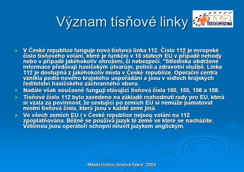 Město Uničov, krizové řízení 2004 Význam tísňové linky  V České republice funguje nová tísňová linka 112. Číslo 112 je evropské číslo tísňového volán