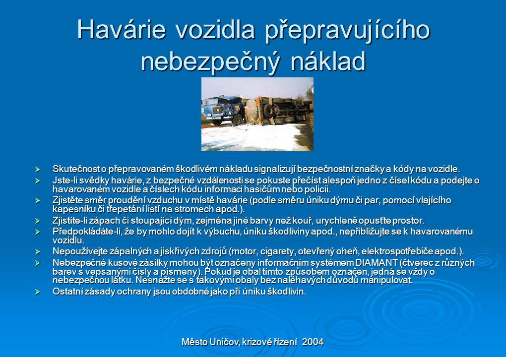 Město Uničov, krizové řízení 2004 Havárie vozidla přepravujícího nebezpečný náklad  Skutečnost o přepravovaném škodlivém nákladu signalizují bezpečno
