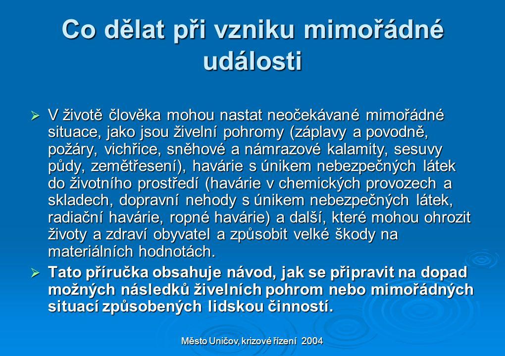 Město Uničov, krizové řízení 2004 Co dělat při vzniku mimořádné události  V životě člověka mohou nastat neočekávané mimořádné situace, jako jsou žive