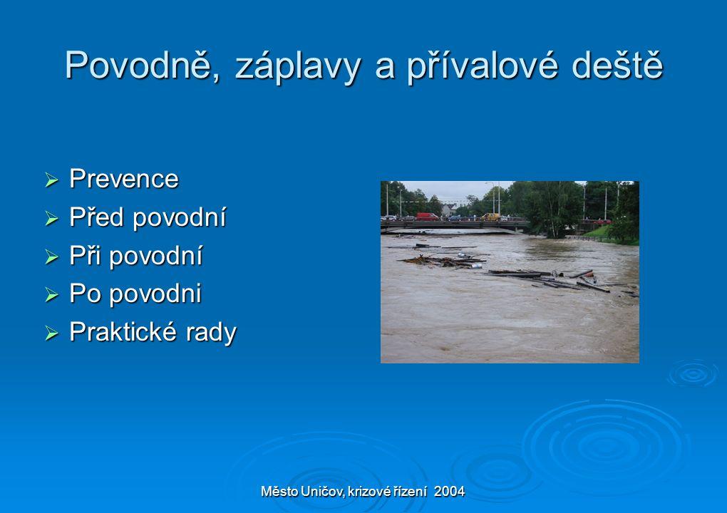 Město Uničov, krizové řízení 2004 Povodně, záplavy a přívalové deště  Prevence  Před povodní  Při povodní  Po povodni  Praktické rady