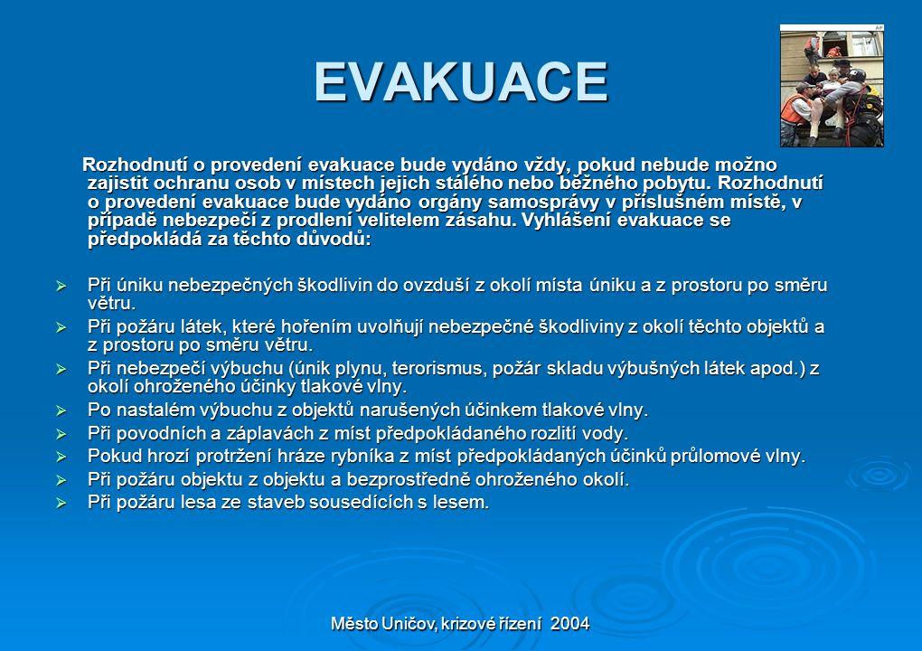 Město Uničov, krizové řízení 2004 EVAKUACE Rozhodnutí o provedení evakuace bude vydáno vždy, pokud nebude možno zajistit ochranu osob v místech jejich stálého nebo běžného pobytu.