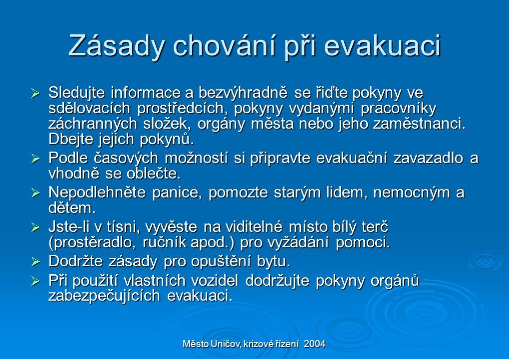 Město Uničov, krizové řízení 2004 Zásady chování při evakuaci  Sledujte informace a bezvýhradně se řiďte pokyny ve sdělovacích prostředcích, pokyny v