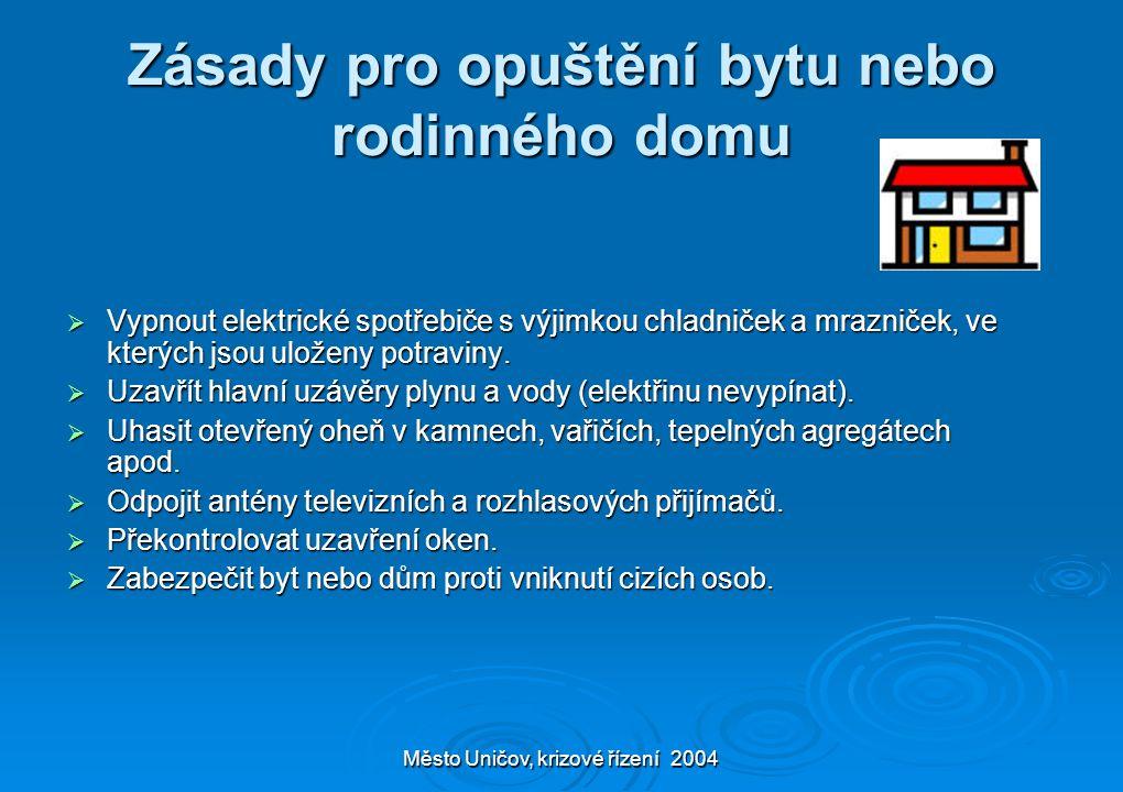 Město Uničov, krizové řízení 2004 Zásady pro opuštění bytu nebo rodinného domu  Vypnout elektrické spotřebiče s výjimkou chladniček a mrazniček, ve k