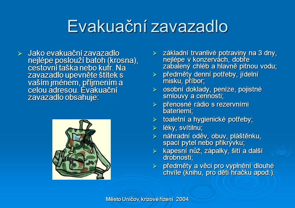 Město Uničov, krizové řízení 2004 Evakuační zavazadlo  Jako evakuační zavazadlo nejlépe poslouží batoh (krosna), cestovní taška nebo kufr. Na zavazad