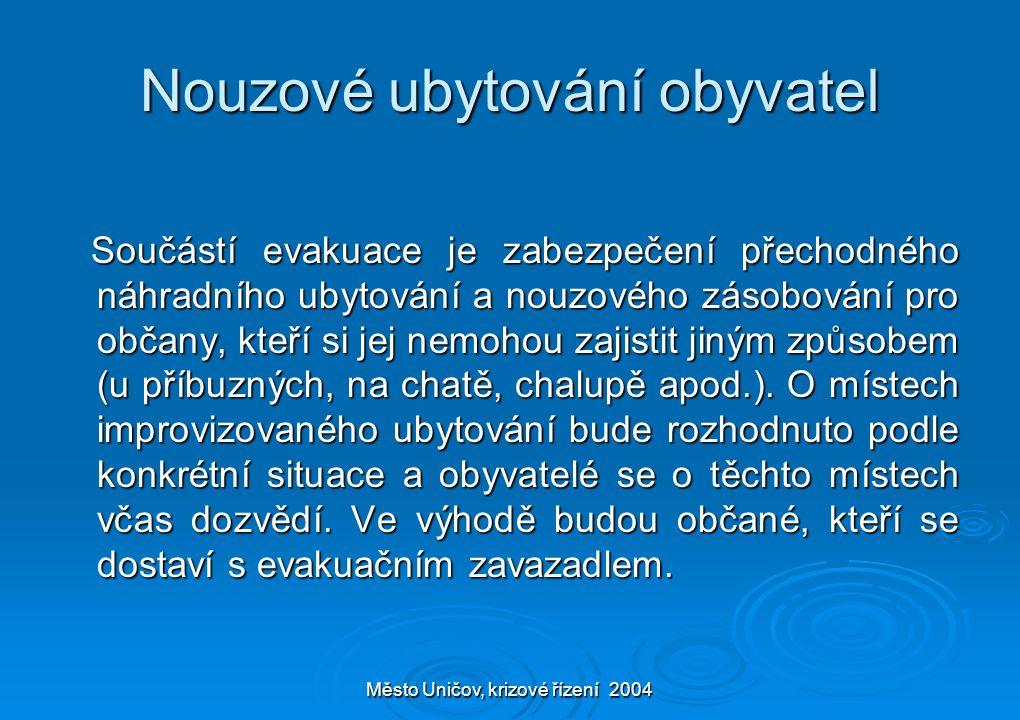 Město Uničov, krizové řízení 2004 Nouzové ubytování obyvatel Součástí evakuace je zabezpečení přechodného náhradního ubytování a nouzového zásobování pro občany, kteří si jej nemohou zajistit jiným způsobem (u příbuzných, na chatě, chalupě apod.).