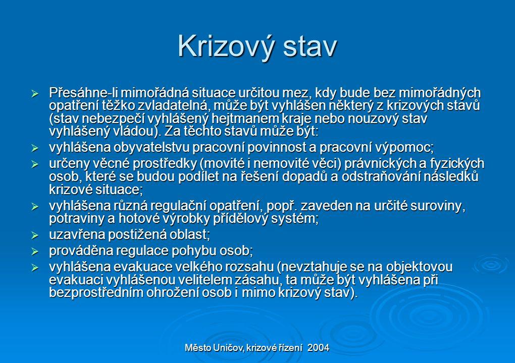 Město Uničov, krizové řízení 2004 Krizový stav  Přesáhne-li mimořádná situace určitou mez, kdy bude bez mimořádných opatření těžko zvladatelná, může