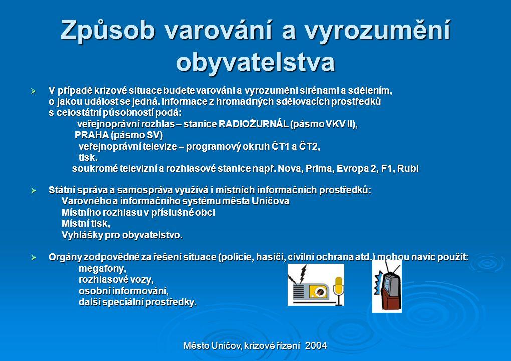 Město Uničov, krizové řízení 2004 Způsob varování a vyrozumění obyvatelstva  V případě krizové situace budete varováni a vyrozuměni sirénami a sdělením, o jakou událost se jedná.