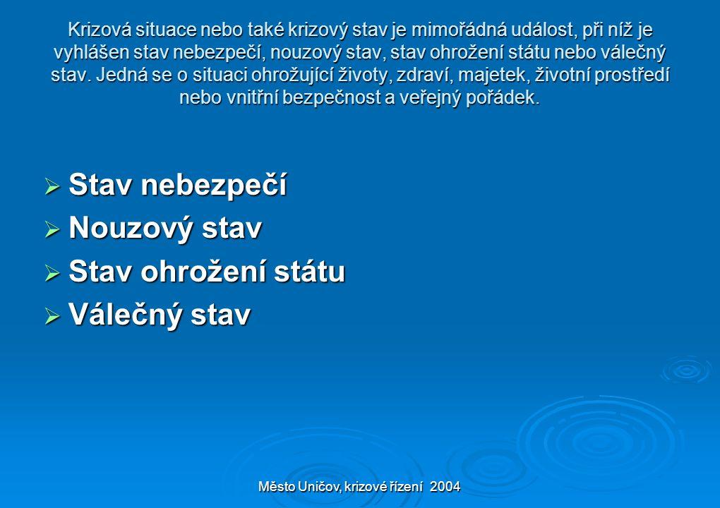 Město Uničov, krizové řízení 2004 Krizová situace nebo také krizový stav je mimořádná událost, při níž je vyhlášen stav nebezpečí, nouzový stav, stav ohrožení státu nebo válečný stav.
