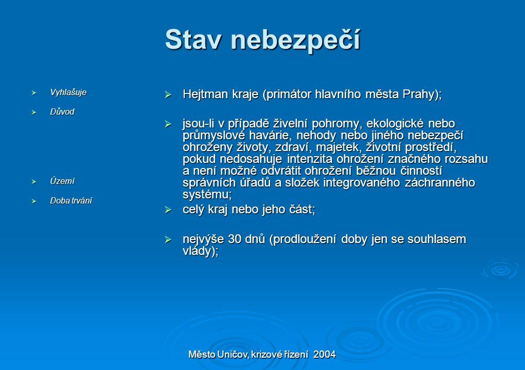 Město Uničov, krizové řízení 2004 Stav nebezpečí  Vyhlašuje  Důvod  Území  Doba trvání  Hejtman kraje (primátor hlavního města Prahy);  jsou-li