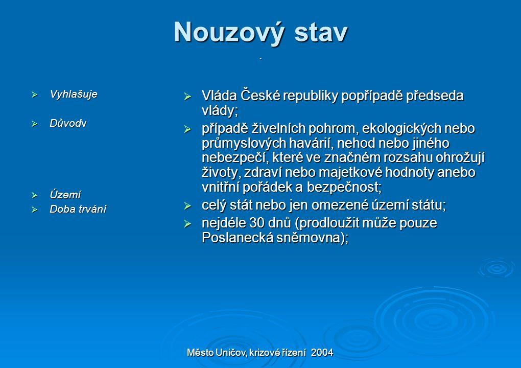 Město Uničov, krizové řízení 2004 Nouzový stav.