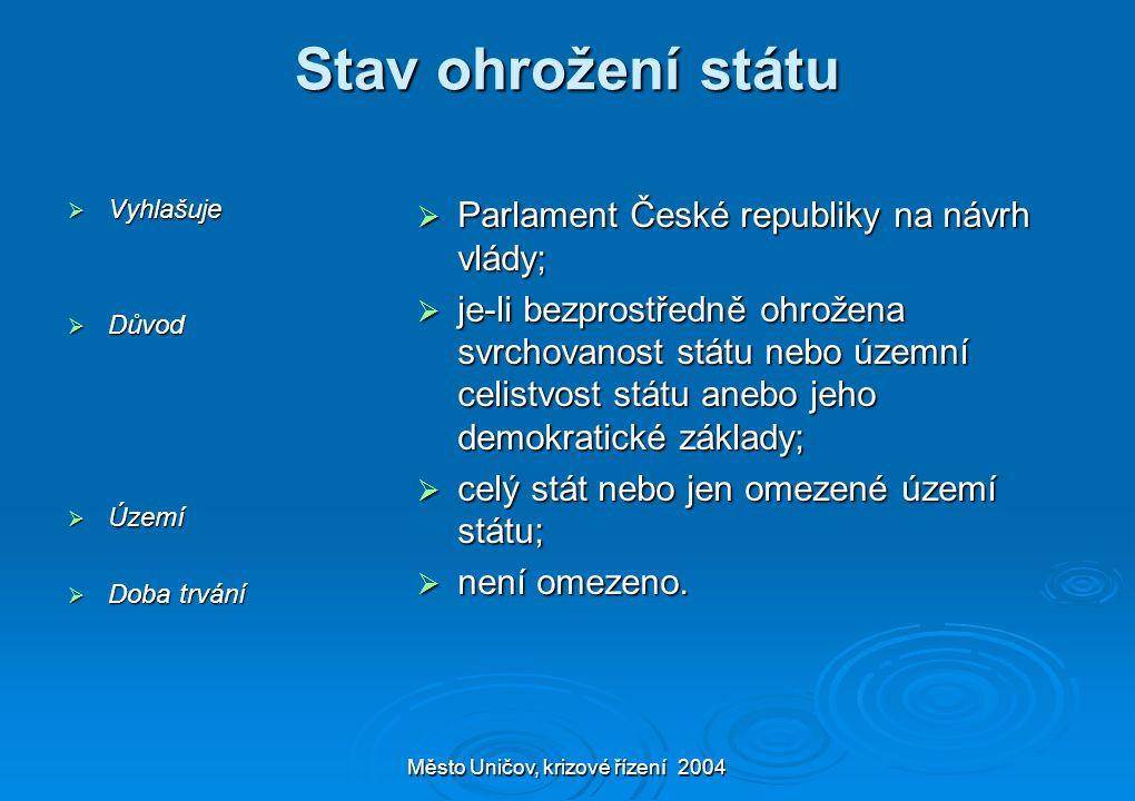 Město Uničov, krizové řízení 2004 Stav ohrožení státu  Vyhlašuje  Důvod  Území  Doba trvání  Parlament České republiky na návrh vlády;  je-li be