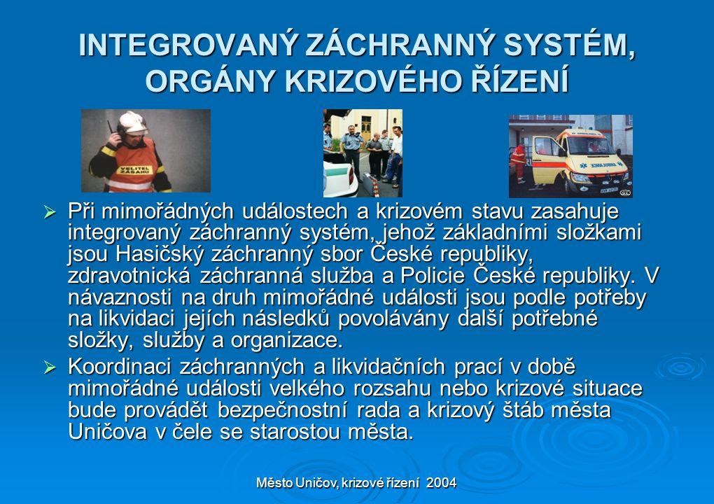 Město Uničov, krizové řízení 2004 INTEGROVANÝ ZÁCHRANNÝ SYSTÉM, ORGÁNY KRIZOVÉHO ŘÍZENÍ  Při mimořádných událostech a krizovém stavu zasahuje integro