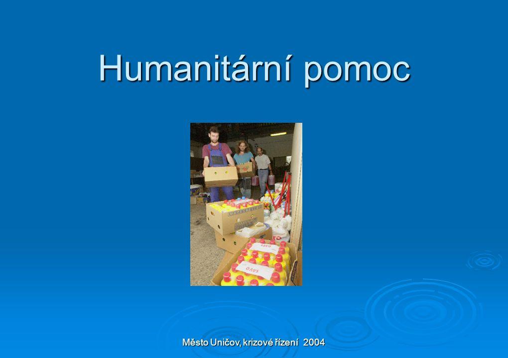 Město Uničov, krizové řízení 2004 Humanitární pomoc
