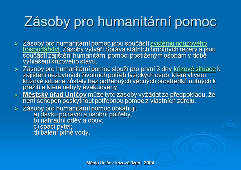 Město Uničov, krizové řízení 2004 Zásoby pro humanitární pomoc  Zásoby pro humanitární pomoc jsou součástí systému nouzového hospodářství.