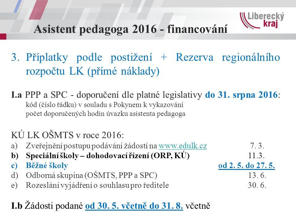 Asistent pedagoga 2016 - financování 3.Příplatky podle postižení + Rezerva regionálního rozpočtu LK (přímé náklady) I.a PPP a SPC - doporučení dle platné legislativy do 31.