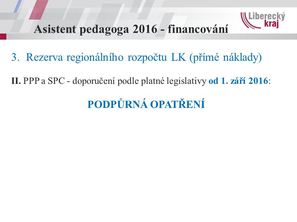 Asistent pedagoga 2016 - financování 3.Rezerva regionálního rozpočtu LK (přímé náklady) II.