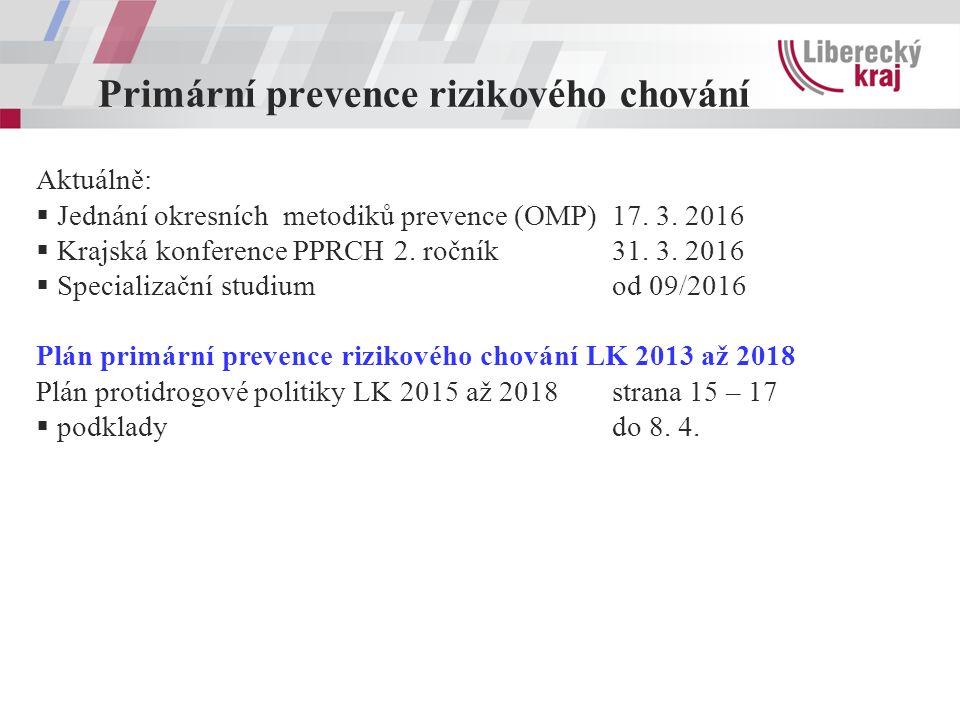 Primární prevence rizikového chování Aktuálně:  Jednání okresních metodiků prevence (OMP)17.