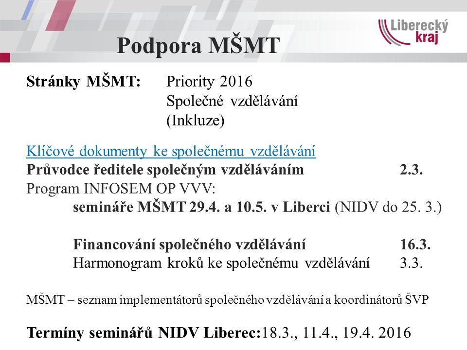 Podpora MŠMT Stránky MŠMT: Priority 2016 Společné vzdělávání (Inkluze) Klíčové dokumenty ke společnému vzdělávání Průvodce ředitele společným vzděláváním 2.3.