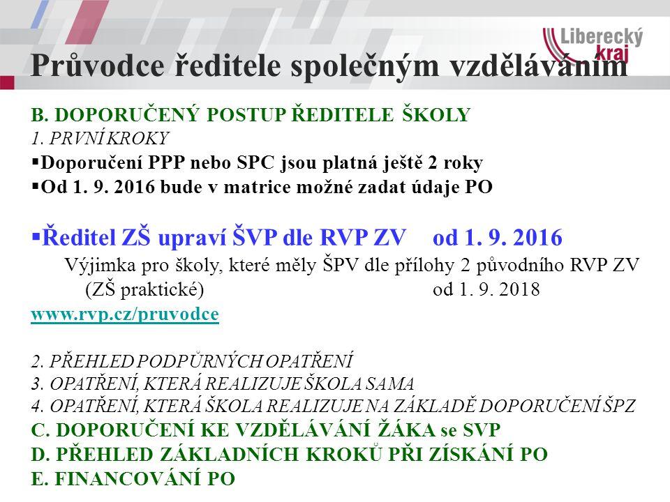 Průvodce ředitele společným vzděláváním B. DOPORUČENÝ POSTUP ŘEDITELE ŠKOLY 1.