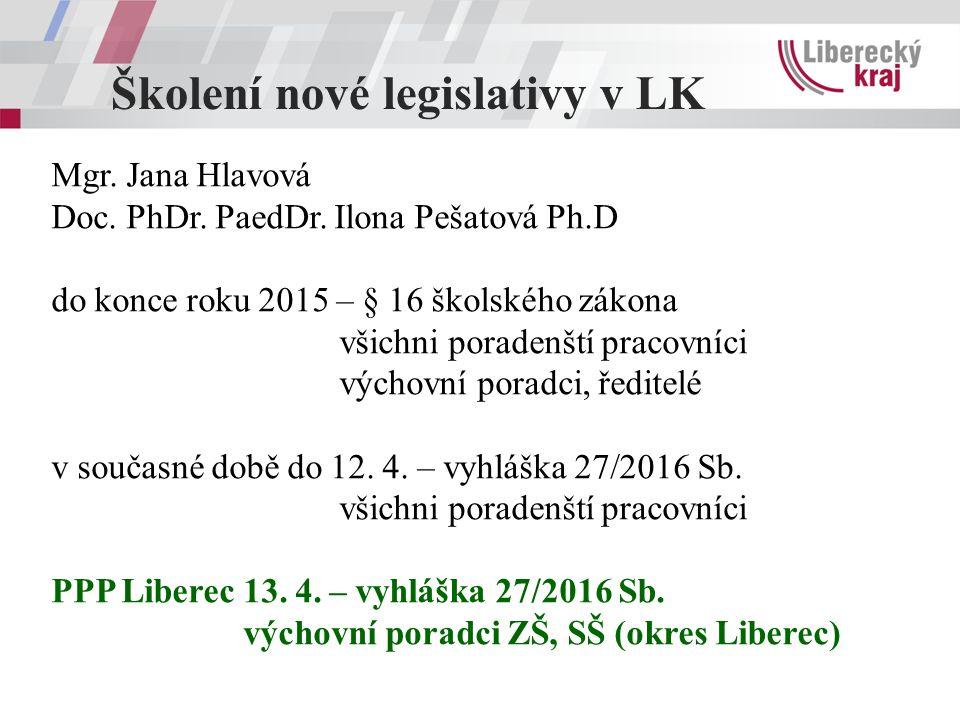 Školení nové legislativy v LK Mgr. Jana Hlavová Doc.
