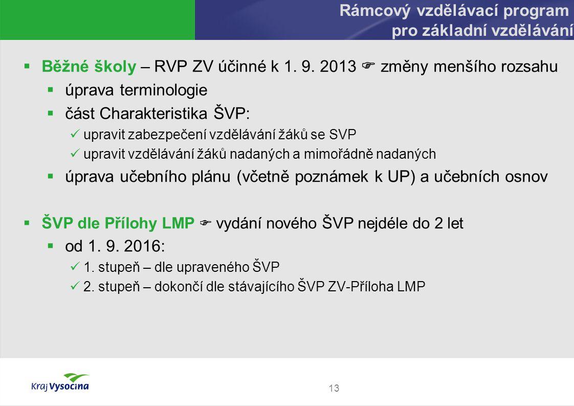 13 Rámcový vzdělávací program pro základní vzdělávání  Běžné školy – RVP ZV účinné k 1. 9. 2013  změny menšího rozsahu  úprava terminologie  část