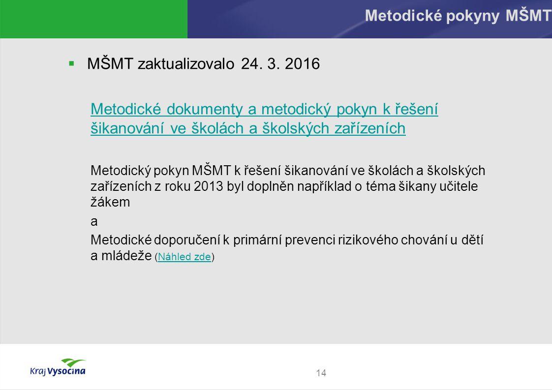 14 Metodické pokyny MŠMT  MŠMT zaktualizovalo 24. 3. 2016 Metodické dokumenty a metodický pokyn k řešení šikanování ve školách a školských zařízeních