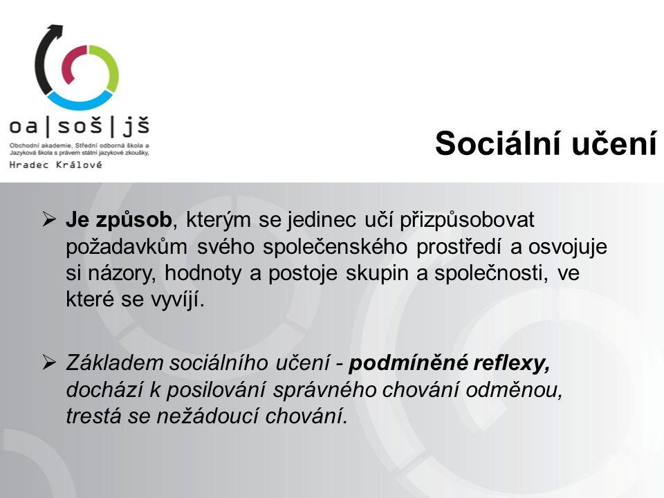 Sociální učení  Je způsob, kterým se jedinec učí přizpůsobovat požadavkům svého společenského prostředí a osvojuje si názory, hodnoty a postoje skupin a společnosti, ve které se vyvíjí.