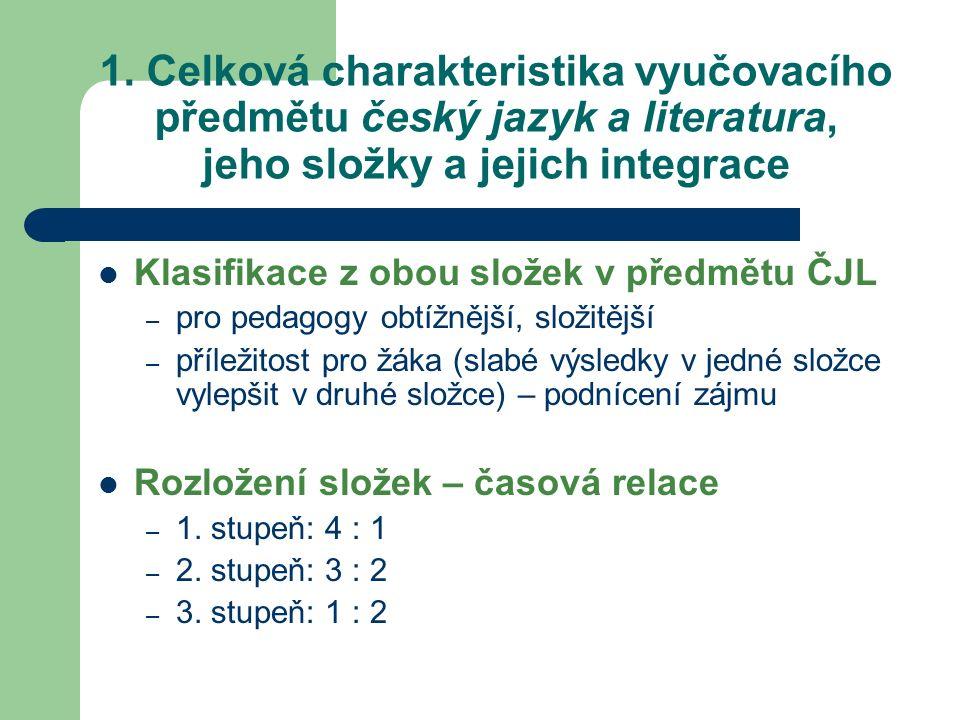 1. Celková charakteristika vyučovacího předmětu český jazyk a literatura, jeho složky a jejich integrace Klasifikace z obou složek v předmětu ČJL – pr