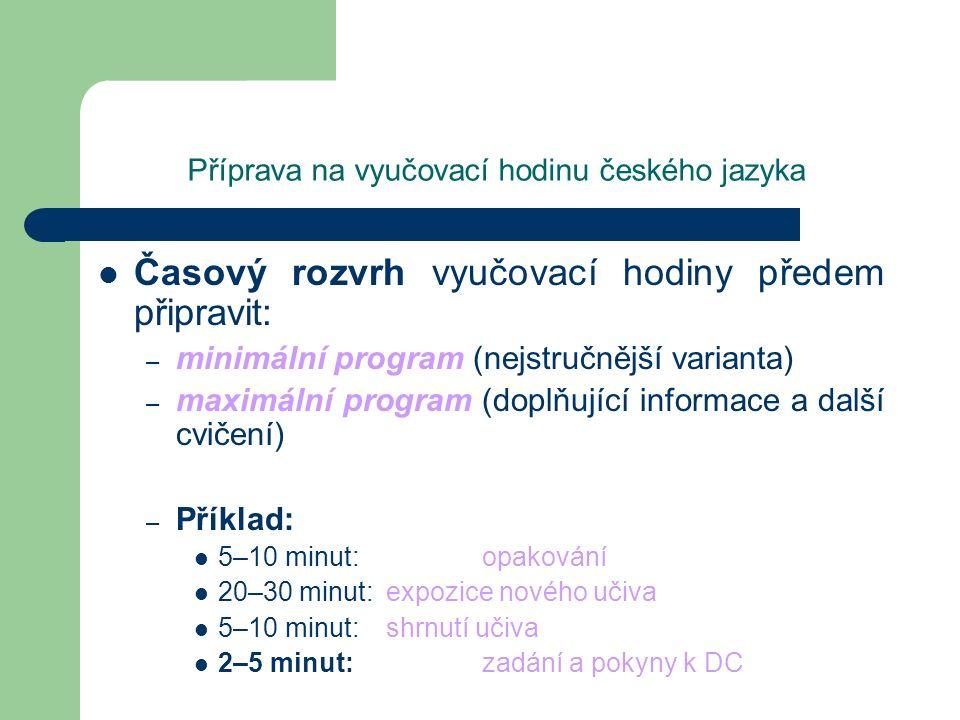 Příprava na vyučovací hodinu českého jazyka Časový rozvrh vyučovací hodiny předem připravit: – minimální program (nejstručnější varianta) – maximální